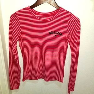 Hollister Red Candy Stripe Long Sleeve